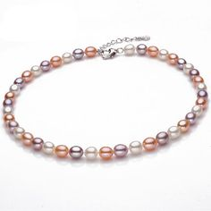 Multicolour Pearl Necklace High Quality Pearl Jewelry Natural Freshwater Pearls Necklace 925 Sterling Silver Jewelry For Women www.bernysjewels.com #bernysjewels #jewels #jewelry #nice #bags