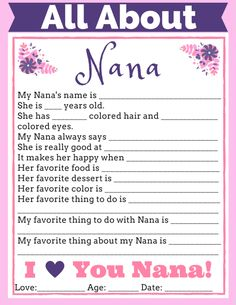 All About Nana Free Printable. An easy, personalized gift from the kids for their Nana this Mother's Day!