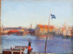 Harbour scenery by Julius Paulsen. Oil on canvas laid on cardboard. Danish, Oil On Canvas, Scenery, Auction, Artists, Fine Art, Painting, Paisajes, Landscape