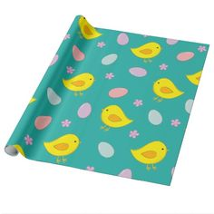 Cute Easter pattern with chickens, eggs, flowers Wrapping Paper  #Easter #pattern #customizable #cute
