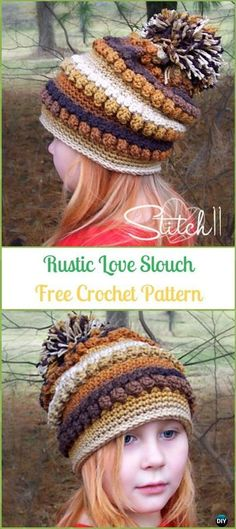 b52066bc1d3 Crochet Rustic Love Slouch Hat Free Pattern -Crochet Slouchy Beanie Hat  Free Patterns Crochet Scarves