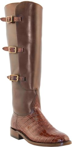 Lucchese Crocodile Polo Boots L4950 with Lieutenant Italian Red Belly Crocodile vamp and calf leather shaft. Gorgeous riding boot!