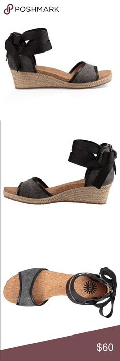 Brand New Ugg Amell Wedge SZ 9 Brand New in Box UGG Amell SZ 9  Model: 1014955 Perfect for spring soirées and garden parties, this elegant wedge features a grosgrain ribbon ankle-tie for a sweet, feminine touch.  Details: Leather and nubuck EVA and foam insole Rubber outsole UGG Shoes Wedges