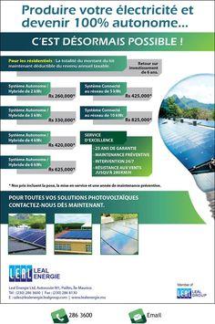 Leal Energie Ltd - Produire votre électricité et devenir 100% autonome. Tél: 286 3600