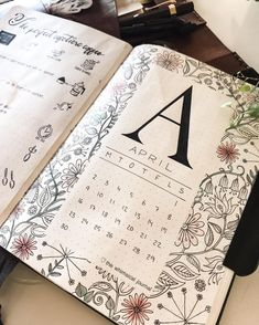 Monthly cover page bullet journal