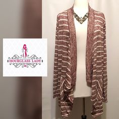 """PLUS 2XLightweight asymmetrical draped cardigan Perfect layering piece for your wardrobe! Lightweight open asymmetrical draped cardigan Burgundy with off white stripes Small front pockets New, tags attached  Size 2X Bust 25"""" across, 31-33"""" long 77% rayon, 18% polyester, 5% spandex  ‼️PRICE FIRM UNLESS BUNDLED‼️ Create a bundle for 15% off! Thanks for looking✌️❌NO TRADES❌ Hourglass Lady Sweaters Cardigans"""