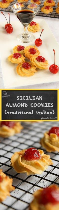 Sicilian almond cookies with maraschino cherries - traditional Italian dessert recipe