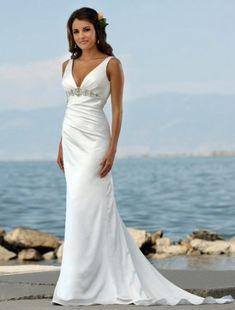 (NO.004363)Trumpet / Mermaid V-neck Court Trains Sleeveless Satin Beach Wedding Dress For Brides