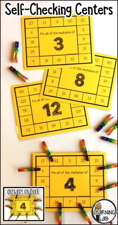 Multiplication practice with this multiples of numbers self-checking math center. Independent practice with the answers on the back! Math Tutor, Teaching Math, Math Resources, Math Activities, Multiplication Practice, Math Fact Fluency, Math Games For Kids, Fourth Grade Math, Math Projects