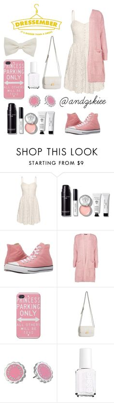 """""""Dressember 2016 - Day 16"""" by andzskiee ❤ liked on Polyvore featuring Talula, Bobbi Brown Cosmetics, Converse, Boohoo, Marc by Marc Jacobs, Essie, cute, white, Pink and dress"""