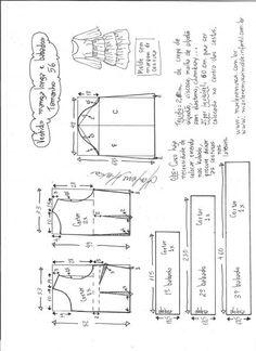 Esquema de modelagem de vestido manga longa babados tamanho 56.