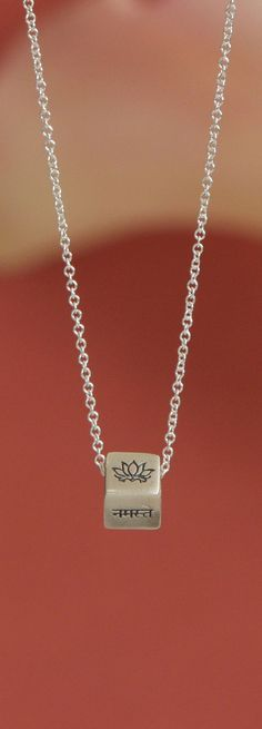 Namaste Sterling Silver Cube Necklace