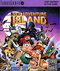 Susumu Matsushita's cover artwork for New Adventure Island (Hudson Soft, Classic Video Games, Retro Video Games, Video Game Art, Old Games, News Games, Playstation, Turbografx 16, Anime Release, Nintendo