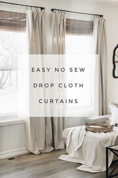 easy no sew drop cloth curtains 2019 Modern Farmhouse style diy drop cloth curtains. The post easy no sew drop cloth curtains 2019 appeared first on Curtains Diy. Curtains Living, Diy Curtains, Bedroom Curtains, Curtain Ideas For Living Room, Apartment Curtains, Rustic Curtains, Curtains From Drop Cloths, Curtains On Wall, Flat Sheet Curtains