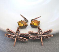 Copper Earrings Dragonfly Earrings Topaz Glass Jewel by fiveforty, $30.00