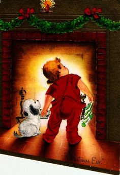 Vintage Christmas Card Little Boy Puppy Waiting For Santa by PaperPrizes on Etsy https://www.etsy.com/listing/246877611/vintage-christmas-card-little-boy-puppy