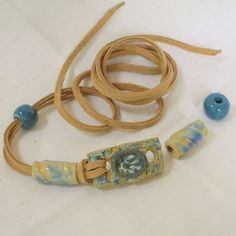Stoneware Bracelet Bar Kit in Light Blue and Yellow Beige with Natural Brown Leather Laces