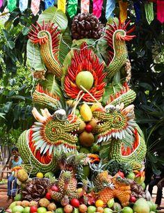 Amazing Fruit Sculpture At A Vietnamese Fruit Festival