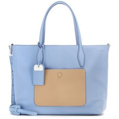 Tod's Reversible Leather Shopper (724.885 CRC) ❤ liked on Polyvore featuring bags, handbags, tote bags, blue, blue tote bag, blue leather purse, leather tote, reversible tote bag and leather purse