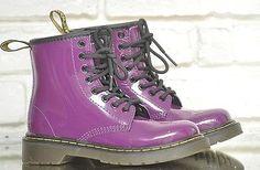 Purple Patent Leather Doc Marten Boots US Size 12 Girls Combat Boots Dr. Marten #purple #docmarten #drmarten #girlsboots #combatboots #patentleather #punkstyle #kidsshoes #coolkicks #girlsshoes #combatboots #ankleboots