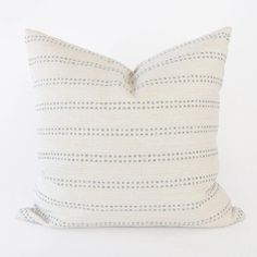 A beautiful sky blue and white striped pillow with casual coastal charm. The woven stripes have flecks of beige, offering warmth to this stain-resistant pillow's fresh ivory background. Bring hygge home with The Cozy Collection, a selection of pillows built for sweater weather. Black Pillows, Modern Throw Pillows, Velvet Pillows, Blue And White Pillows, Modern Pillow Covers, 20x20 Pillow Covers, Accent Pillows, Hygge Home, Striped Fabrics