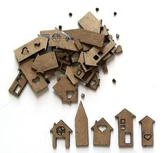 A set of Chipboard ALPHAS! Little chipboard houses in lots of different styles - 2 of each. Paper Craft Supplies, Chipboard, Tiny Houses, Laser Cutting, Different Styles, Layout, Studio, Art Journals, Frame