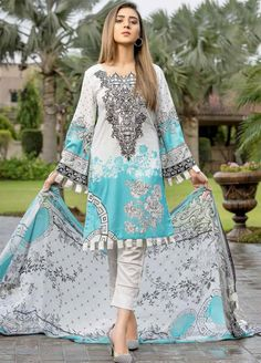 Buy Star Digital Embroidered Chiffon Eid Collection 2019 Embroidered Lawn Unstitched 3 Piece Suit from Sanaulla Store - Original Products. Stylish Dresses For Girls, Stylish Dress Designs, Simple Dresses, Casual Dresses, Pakistani Fashion Party Wear, Pakistani Outfits, Pakistani Casual Wear, Pakistani Clothing, Simple Pakistani Dresses