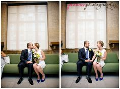 Manhattan city hall wedding couple