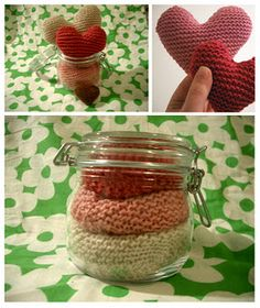 Knitting hearts in a jar Knitting Projects, Knitting Patterns, Crochet Patterns, Saint Valentine, Valentines, Knitted Heart, Knitted Flowers, Types Of Craft, Christmas Knitting