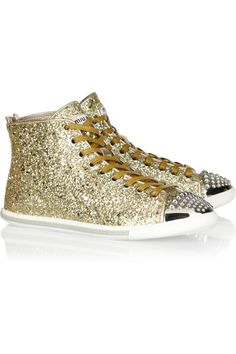 Miu Miu | Glitter-finish leather high-top sneakers | NET-A-PORTER.COM