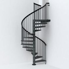 Arke x Iron Grey Spiral Staircase Kit at Lowe's. The diameter iron-grey spiral staircase is manufactured in steel with a particular treatment (Sendzimir) that consists in galvanizing steel Modular Staircase, Spiral Staircase Kits, Modern Staircase, Spiral Staircases, Staircase Pictures, Staircase Ideas, Railing Design, Staircase Design, Stair Design