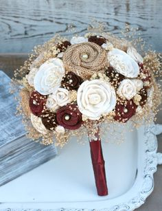 Rich Maroon Rustic Heirloom Bride's Wedding Bouquet by TheSunnyBee