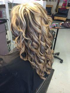 Kenra color. Long hair. Blonde hair. Curls. Lowlights. Brown and blonde hair