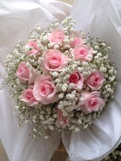 Vintage rose and gypsophila hand tied bridal bouquet