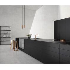 Black kitchen, copper details, modern interior design