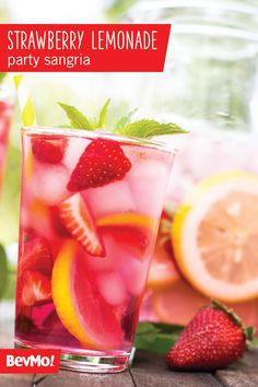 When you see that this Strawberry Lemonade Batch Sangria recipe from BevMo! starts with Moscato wine, vodka, and lemonade, it's not hard to see why this will be your new favorite cocktail for summer. Then pop in the fresh fruit and citrus along with some effervescent ginger ale and you've got yourself a drink for a crowd.
