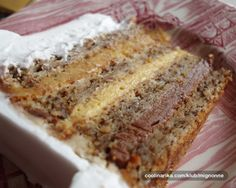 Interkontinental torta — Coolinarika Translation to English would take work. Basically make a Walnut Cake cut into 4 layers. Fillings are Hazelnut, Coffee, and Chocolate. Top cake with Chocolate. Torte Recepti, Torte Cake, Walnut Cake, Coffee Cake, Cake Cookies, No Bake Cake, Fun Desserts, Sweet Recipes, Deserts