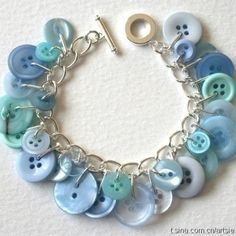 Pale blue Button Bracelet