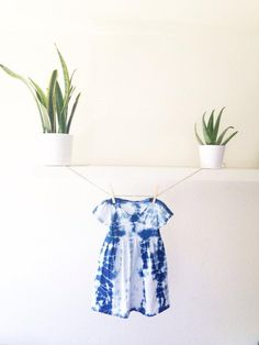 A hand-dyed indigo and cotton dress fit for the hippest kid on the block. #etsy