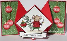 Stampin Up, #thecraftythinker, Christmas Card, Xmas, Merry Mice, Diamond Fold