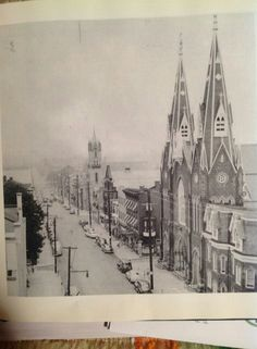 Vintage photo of North 8th Street and the wonderfuly gothic St. Mary's church in Lebanon, PA.. The church fell victim to a wrecking ball but it did not go down easily.