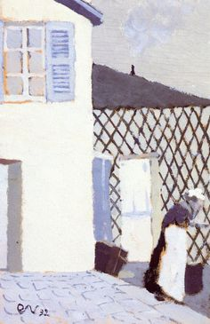 Edouard Vuillard, Woman in a White Apron in the Yard   (1892)  Private collection  Painting - oil on board