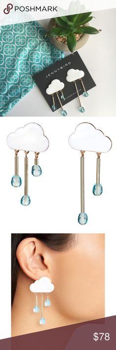 "Jenny Bird Chance of Rain Drop Earrings Playful earrings that sway as you wear them.  💨14k gold-dipped brass 💨soft white enamel cloud detail 💨glass beads   💨3 drop earring 💨length: 2 1/4"" 💨weight: 25oz  💨2 drop earring 💨length: 2 3/4"" 💨weight: 20oz  ✨bullet clutch backing ✨finish: high polish  ✨imported Jenny Bird Jewelry Earrings"