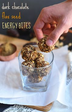 Wholesome, naturally sweetened Dark Chocolate Flax Seed Energy Bites, requiring just 5 ingredients and less than 15 minutes to make! A simple, satisfying vegan & gluten-free snack!