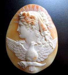 XX-tra Fine Huge Antique Shell Cameo of Eos Museum Grade- Loose, Unmounted