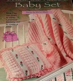 crochet baby pillows | Crochet Pattern Baby Pillow And Blanket Afghan Original Annies Favori ...