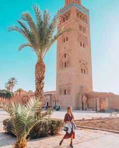 The 40 Best Places To Take Pictures In Marrakech - Sidewalker Daily - Sofia Reis at Koutoubia Mosque, Marrakech Morocco - Morroco Marrakech, Visit Marrakech, Marrakech Travel, Visit Morocco, Morocco Travel, Holidays Around The World, Around The Worlds, Places To Travel, Places To Go
