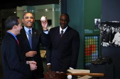 President Obama pretends to toss a ball once used by former President Howard Taft to throw out a ceremonial pitch, as Obama tours the Nation...