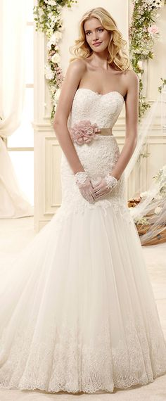colet bridal 2015 sweetheart strapless fit and flare trumpet mermaid wedding dress colored sash #trumpetweddingdress #weddings