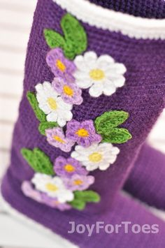 Crochet Boots for the Street: Violet Spring Boots  Folk Tribal Boots, Boho, Made to Order
